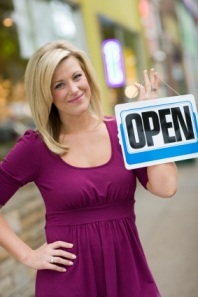 Blonde woman Open sign