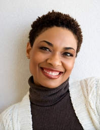 beautiful African-American woman smiling closeup