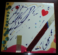 crazy print heart Ginette King painting