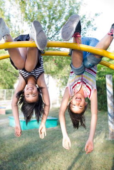 jungle gym girls hanging happy best
